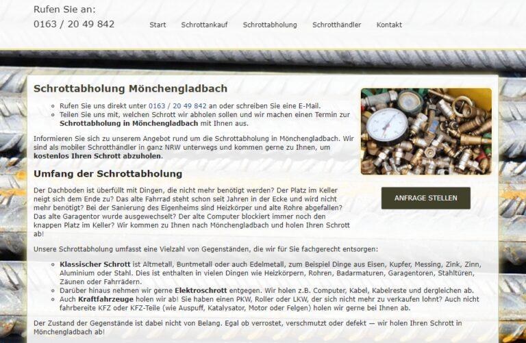 Schrottabholung in Mönchengladbach : Ihr Partner für Schrottabholung und Altmetallhandel