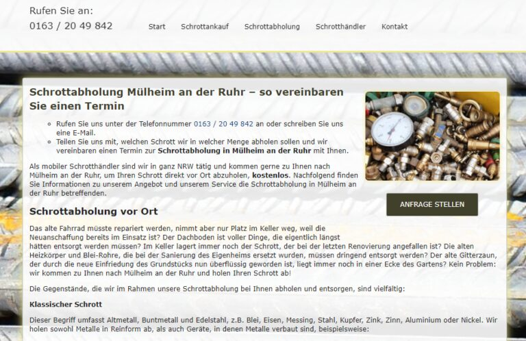 Schrottabholung in Mülheim an der Ruhr : Ihr starker Partner in der Altmetallsammlung in ganz Nordrhein-Westfalen